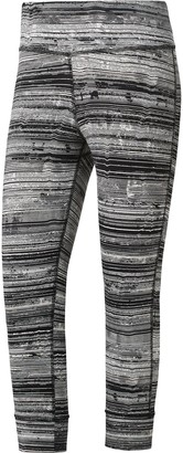 Reebok Women Lux 3/4 Tight Stratified Stripes Women Running Clothes Tight Black - Lightgrey S