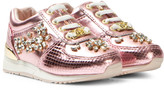 Michael Kors Pink Zia Allie Crystal-T Metallic Trainers