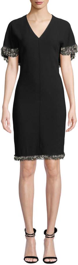 Elie Tahari Merci Cape-Sleeve Sheath Dress with Beaded Fringe