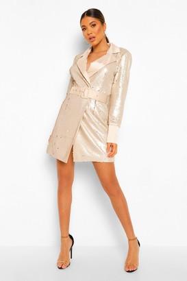 boohoo 2 Tone Sequin Belted Blazer Dress