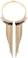 GUESS Gold-Tone Stone and Fringe Hinged Collar Necklace