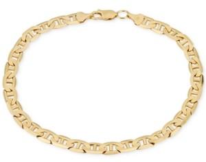Italian Gold Men's Open Link Chain Bracelet (5-5/8mm) in Solid 10k Gold