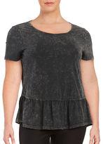 Junarose Mona Short-Sleeve Jersey Peplum Top