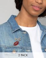 Asos Pack of 2 Glitter Lips Badge Pack