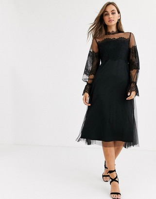 Pieces mesh lace high neck midi dress in black