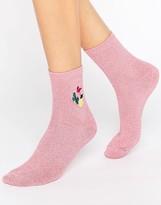 Asos Cactus Pineapple Flamingo Embroidered Badge Socks