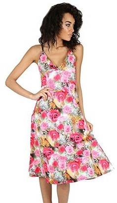 Fashion Star Womens Printed Flared Camisole Strappy Wrap Over Swing Midi Skater Dress