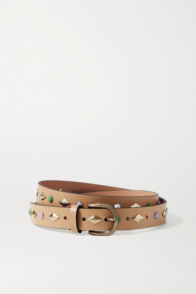 Isabel Marant Zap Studded Leather Belt - Beige