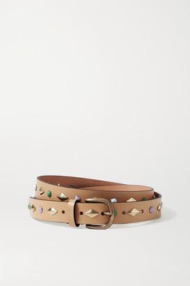 Isabel Marant Zap Studded Leather Belt - Beige