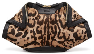 Alexander McQueen De-Manta Leopard-Print Calf Hair Clutch Bag