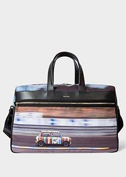 Paul Smith Men's Multi-Coloured 'Racing Mini' Print Canvas Weekend Bag