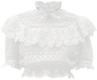 Miu Miu Ruffled Cotton-blend Lace Blouse - White