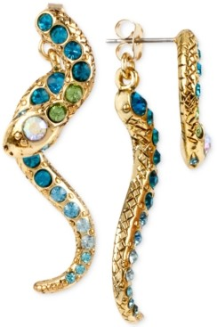Betsey Johnson Gold-Tone Pave Crystal Snake Front and Back Earrings