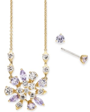 Eliot Danori Crystal Flower Pendant Necklace & Stud Earrings Set, Created for Macy's