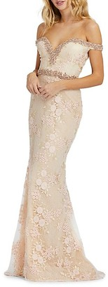 Mac Duggal Embellished Lace Mermaid Gown