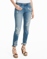 White House Black Market Embroidered Girlfriend Jeans