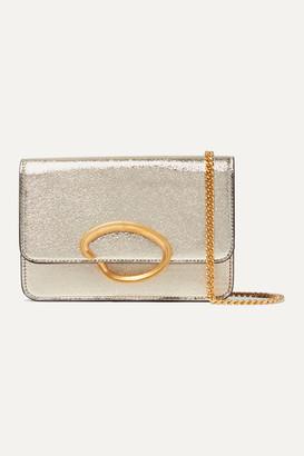 Oscar de la Renta O Chain Metallic Textured-leather Shoulder Bag - Gold