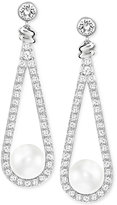 Swarovski Silver-Tone Imitation Pearl and Pavé Drop Earrings