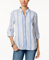 Charter Club Linen Roll-Tab Striped Shirt, Only at Macy's