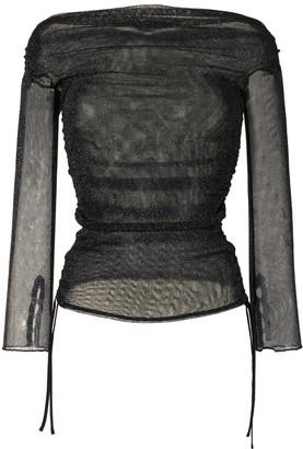 Jonathan Simkhai Semi-Sheer Metallic Wrap Top