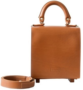 "Natural Leather Top Handle Bag ""Mint"" Brown"