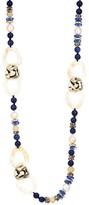 Akola Mixed Gemstone Beads & Horn Link Long Necklace