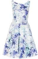 Quiz Blue And Grey Flower Print High Neck Dress