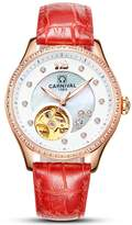 Carnival Women's Japan Automatic Mechnicial Rose-gold-tone Plated Stainless Steel Analog Wrist Watch with Calfskin Watchband (Red)