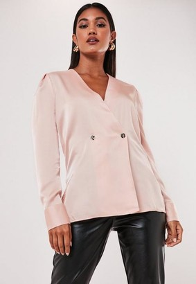 Missguided Wrap Satin Blouse