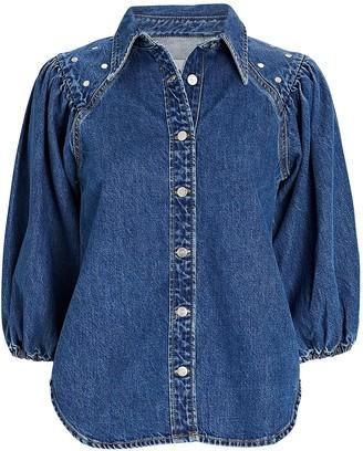 Ganni Studded Denim Puff Sleeve Shirt