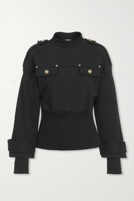 Balmain Button-embellished Quilted Jersey Sweatshirt - Black