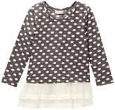 Mimi & Maggie Lace Bottom Dot Tunic (Toddler & Little Girls)