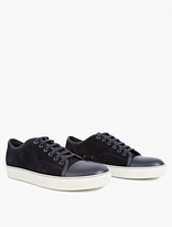Lanvin Navy Suede Toe-cap Sneakers