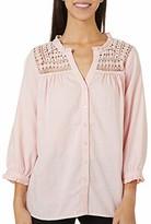 Vintage America Blues Women's Cassie Crochet Yoke 3/4 Sleeve Blouse Shirt