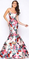 Mac Duggal Rose Print Sweetheart Tiered Mermaid Prom Dress