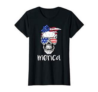 Womens Skull American Flag Bow Tee 4th Of July Funny Women USA Gift
