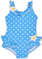 Florence Eiseman Polka-Dot Ruffle Swimsuit, Blue, Size 6-24 Months