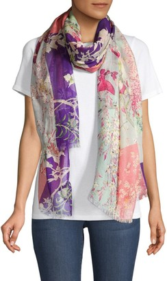 Etro Patchwork Floral Cashmere & Silk Raji Scarf