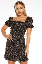 Quiz Black Floral Print Square Neck Puff Sleeve Dress