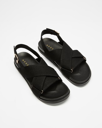 AERE - Women's Black Flat Sandals - Linen Crossover Footbed Sandals - Size 6 at The Iconic