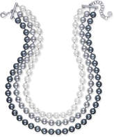 Charter Club Imitation Pearl Ombré Three-Row Collar Necklace, Created for Macy's