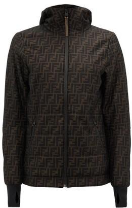 Fendi Ff Logo-print Technical-mesh Hooded Jacket - Black Brown