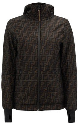 Fendi Ff Logo-print Technical-mesh Hooded Jacket - Womens - Black Brown