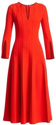 Oscar de la Renta Long-Sleeve Plisse A-Line Dress