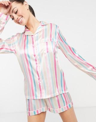 NIGHT satin short pyjama set in pastel stripe