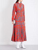 Diane von Furstenberg Floral-print silk-crepe maxi shirt dress