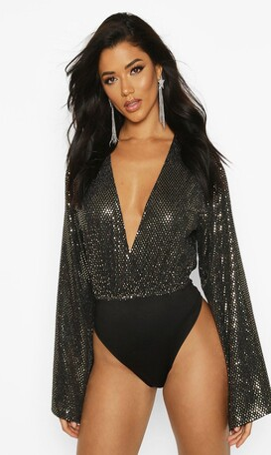 boohoo Sequin Plunge Bodysuit