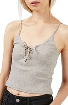 Topshop Women's Lace-Up Ribbed Camisole