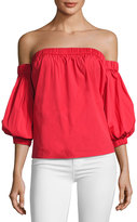 Milly Off-the-Shoulder Cotton Poplin Blouse, Red