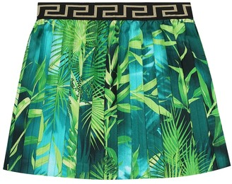 Versace Kids Printed silk skirt